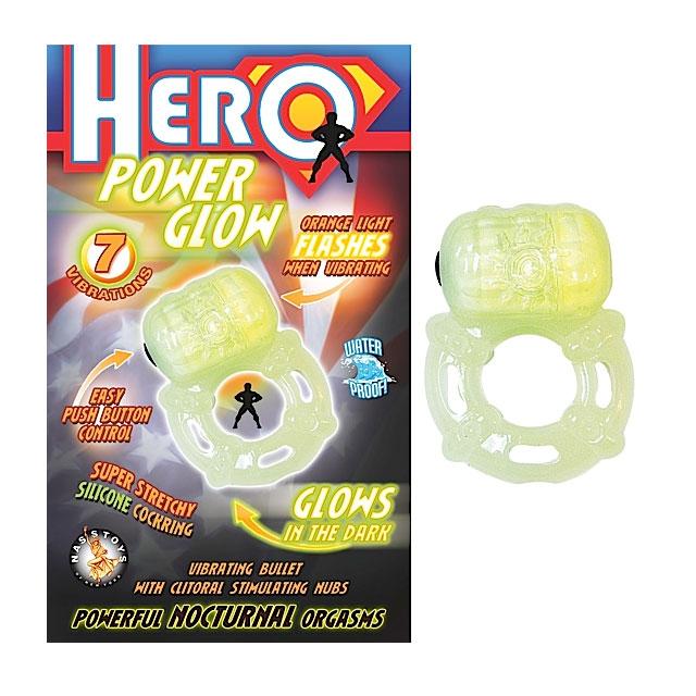 Sex Hero Power Glow Cock Ring G I T D NassMen Vibrating Cock Rings