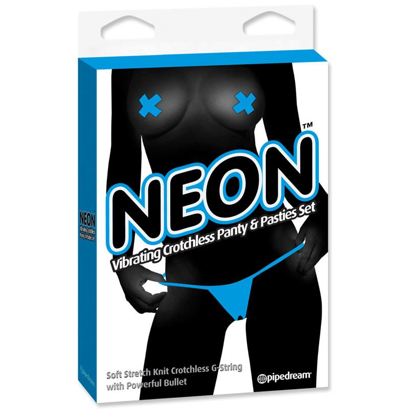 Neon Vibr Crotchless Panties&Pastie Blue Vibrator Panty Sex Toys