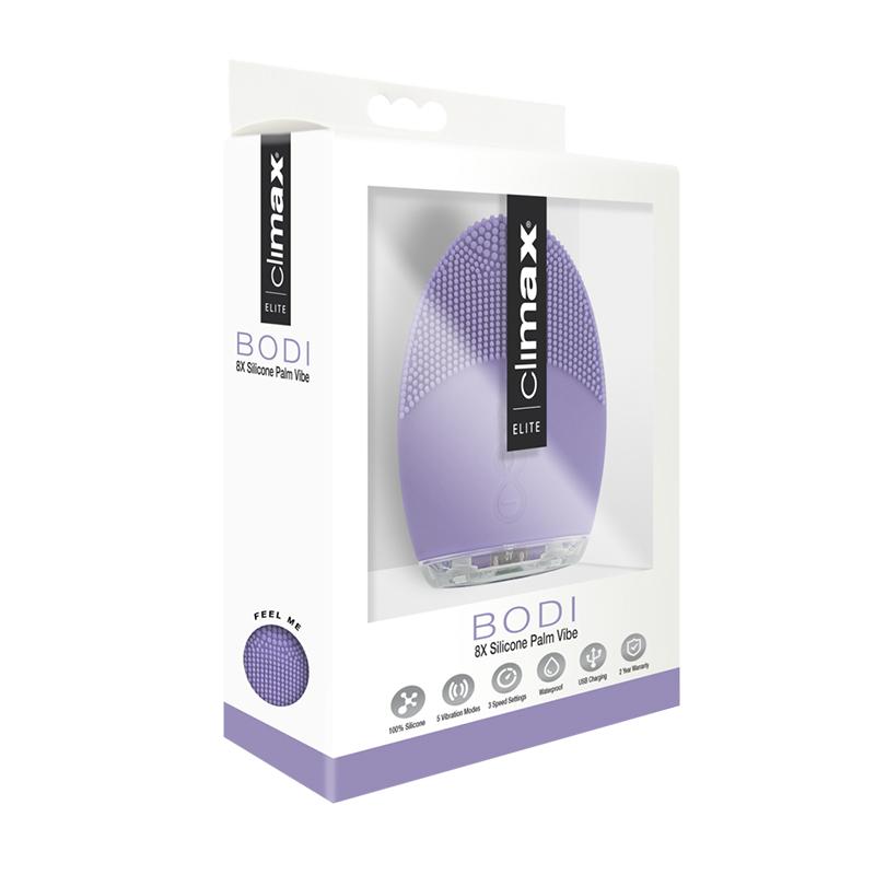 Climax Elite Bodi 8X Sili Palm Vibe Lila Vibrator Silicone Sex Toys