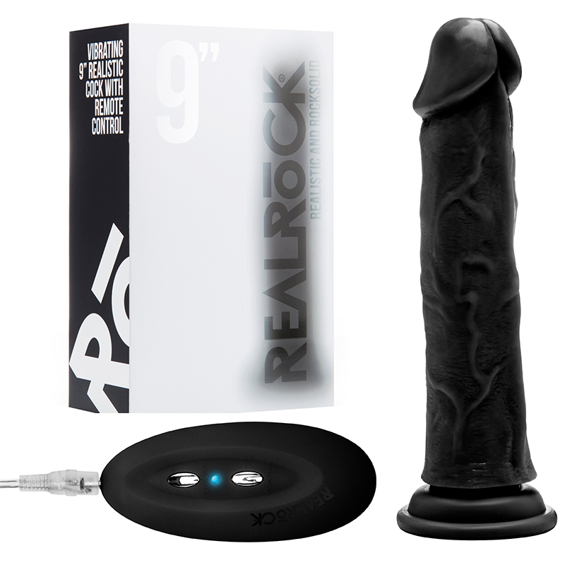 RealRock Vibe Cock 8in Black Vibrators Penis Shaped Trusted Sex Toys