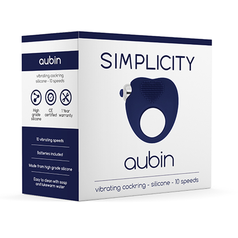Sex Toy Simplicity AUBIN vibe cockring Blue Men Vibrating Cock Rings